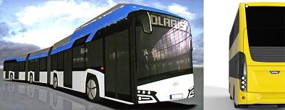 A gauche le futur Solaris Urbino 24 et � droite, le bus double �tage Citea de VDL � venir (photos X D.R.)