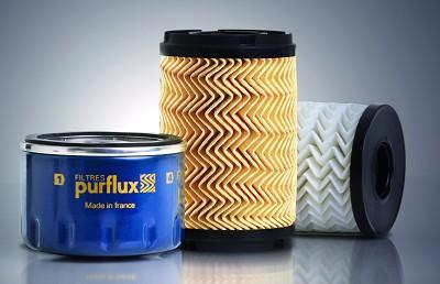 Exemples de filtre � huile Purflux (mod�les �co et cartouche sertie). On note les plis du m�dia en chevrons, une ancienne innovation de la marque.