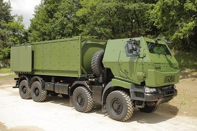 Renault Trucks Defense produit une large gamme de véhicules blindés (de combat ou pas), pour de nombreuses applications militaires... Comme ce modèle développé sur une base de Renault Kerax.