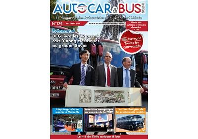 A la une d'Autocar & Bus Infos n°174 de novembre, les premiers Yutong électriques pour le groupe Savac, les compte-rendus des RNTP à Marseille et de Busworld à Courtrai, le congrès de la FNTV et les anciens cars-fourgons de la gendarmerie mobile.