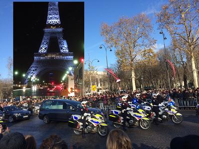 Le cortège funéraire précédait 700 bikers qui ont descendu l'avenue sous les applaudissements (photos Gilbert).