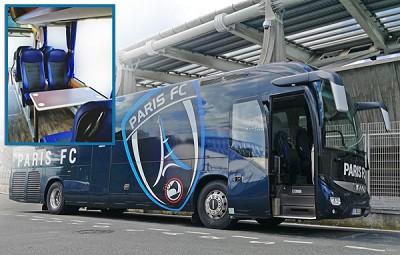 L'Iveco Magelys du Paris FC est un car haut de gamme doté de 40 sièges Kiel Top Flair (photo X D.R./Montage Hohler).