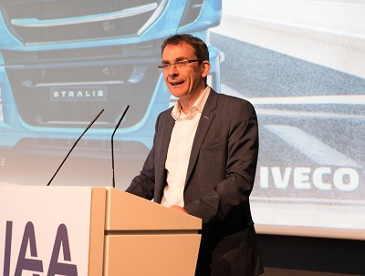 Pierre Lahutte annonce un stand 100 % transport durable à l'Internationaler Presseworkshop 2018 de l'IAA qui s'est tenu en juillet. (photo X D.R.)