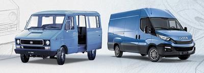 A gauche, le Daily en 1978 version fourgon. Il a ensuite été décliné en plusieurs versions de carrosseries notamment pour le BTP, la distribution, véhicule-atelier, remorqueuse...