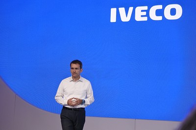 Pierre Lahutte, lors de la conférence de presse sur le stand Iveco au dernier salon IAA à Hanovre (photo Gilbert)