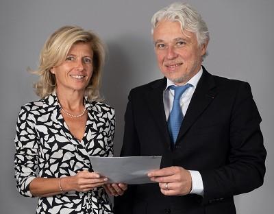 Patricia Morand, directrice du réseau Entreprises d'Arkéa Banque E&I et Jean-Christophe Pic, président de la FNTR.