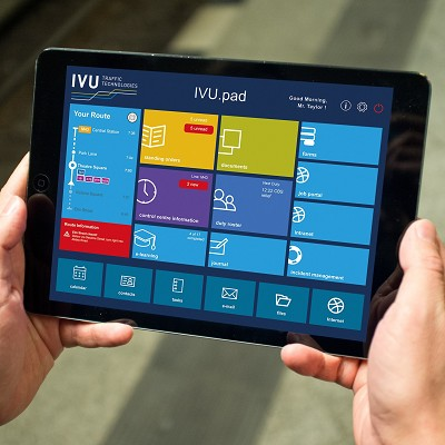 IVU est spécialisée dans la conception de ce type d'écran (ci-dessus, pour le conducteur) permettant  de connaître son ittinéraire ou de recevoir des messages.