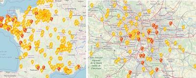 Le site penurie.mon.essence.fr montre encore une carte de France et celle de Paris bien chargée de stations en rupture totale ou partielle.