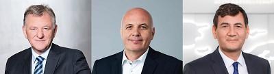 De g. à d. : le patron de la branche camions de Volkswagen, Andreas Renschler, est remplacé par Matthias Gründler, tandis que Gunnar Kilian prend les rênes de la division Truck & Bus.