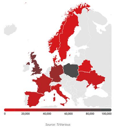Les variations de degré de pénurie selon les pays européens...